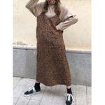 New Leopard Print Sleeveless Strap V Neck Dress