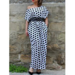 New Polka Dot Print Off Shoulder Maxi Dress