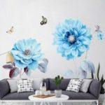 New PVC Blue Flower Kitchen Wall Sticker Vinyl Art Decals Cafe Diner Hearts DIY