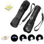 New XANES 1287 Suit Zoomable Tactical LED Flashlight XHP50 Highlight With 18650 USB Cable Flashlight Set Telescopic Torch