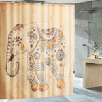 New Elephant Polyester Shower Curtain Panel Sheer Bathroom Hooks Set Decor 180x180cm