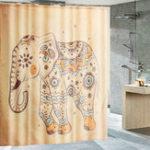 New Elephant Polyester Shower Curtain Panel Sheer Bathroom Hooks Set Decor 180x180cm