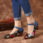 New SOCOFY Genuine Leather Ankle Strap Pumps