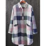 New Plus Size Vintage Plaid Long Sleeve Pockets Blouse