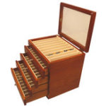 New 50 Pieces Fountain Pens Holder Wooden Pen Display Case With Antique Color Container 5 Layer
