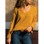 New Women V Neck Solid Color Pullover Sweaters