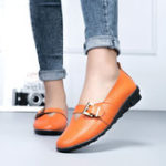 New Large Size Casual Soft Buckle Flats Loafers Slip On Shoes