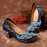 New SOCOFY Genuine Leather Snakeskin Pumps