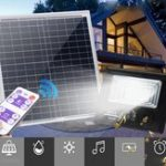New Bright Solar Powered 100 LED Flood Security Light Dimmable with Remote Controller for Garden Wall Outdoor