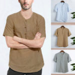 New Mens Loose Casual Comfy Cotton Breathable Vintage T-shirts