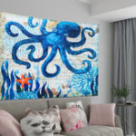 New Large Octopus High Density Tapestry Wall Hanging Mandala Hippie Bedspread Throw