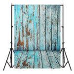 New 5x7FT Vinyl Blue Wood Wall Floor Photography Backdrop Background Studio Prop