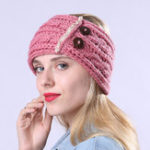 New Women Winter Earmuffs Ponytail Knit Beanie Caps