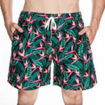 New Mens Printing Loose Beach Drawstring Elastic Waist Shorts