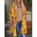 New Women Floral Print Half Sleeve Kimono Cardigans