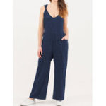 New Pure Color Side Pocket Twisted Cotton Jumpsuit