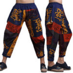 New Mens Ethnic Printed Cotton Loose Baggy Bloomers Harem Pants
