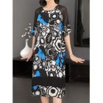 New Elegant Women Short Sleeve Floral Print Dress