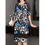 New Elegant Women Short Sleeve Floral Print Dress