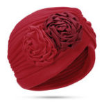 New Women Polyester Ethnic Floral Turban Hat Chemo Caps