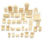 New DIY Mini 34pcs/set Kids Educational Doll House Accessories Furniture 3d Woodcraft Puzzle Model Kit Handmade Toys