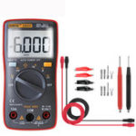 New ANENG AN8001 Red Professional True RMS Digital Multimeter 6000 Counts Backlight AC/DC Ammeter Voltmeter Resistance Capacitance Frequency Tester + Test Lead Set