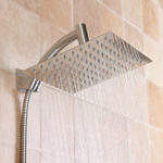 New Square 8 Inch Rainfall Shower Head Extension with Shower Arm Hose Kit Overhead