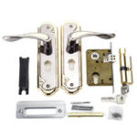 New 2 Set Aluminum Alloy Dual Latch Door Handle Front Back Lever Security Lock Cylinder with Key