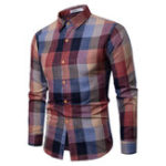 New Men Plaid Long Sleeve Loose Shirts