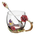 New Enamel Glass Rose Flower Tea Cup Set Spoon Coffee Cup Cold Drinks Mug