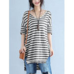 New Women Casual Stripe V-Neck High Low Hem Short Sleeve T-Shirt