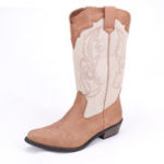 New LOSTISY Stitching Western Cowboy Mid Calf Boots