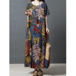 New Women Crew Neck Floral Cotton Vintage Maxi Dress