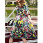 New Women O-neck Short Sleeve Floral Print Loose Dress