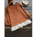 New Women Cotton Linen  Solid Color Lace Patchwork Blouse