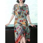 New Elegant Floral Print Vintage Irregular Hem Dres