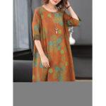New Vintage Printed Half Sleeve A-line Silk Dress
