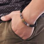 New Vintage Agate Beads Alloy Lion Head Beaded Bracelets