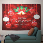 New Xmas Home Wall Hanging Tapestry Bell Printed Wall Ornaments Red Christmas Wall Decor Tapestry