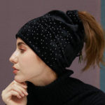 New Women Flannel Tie Rope Dual-Use Ponytail Beanie Caps