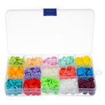 New 15 Colors 150Pcs Plastic Resin Fastener Snap Heart Buttons DIY Cloth Craft Kit With Storage Case
