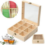 New 9 Compartments Tea Storage Box Jewelry Box Wooden Colour Container With Glass Top Chest Tin