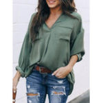 New Women Casual Solid Color V-Neck Long Sleeve Blouse