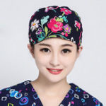 New Women Flower Print Cotton Surgical Cap Doctor Nurse Work Hat