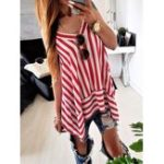 New Women Casual Striped V-Neck Sleeveless Tank Tops