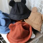 New Women Plain Weave Thickened Warm Woolen Mickey Bucket Hat