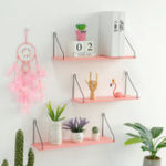 New Pink Bookshelf Iron Wooden Wall Shelf Holder Rack Organizer Craft Storage Home Decoration