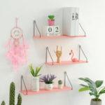 New Pink Bookshelf Iron Wooden Wall Shelf Holder Rack Organizer Craft Storage Home Decoration