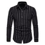 New Mens Casual Striped Long Sleeve Loose Fit Shirts