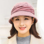 New Women Warm Fur Fedora Hat Floppy Bucket Cap